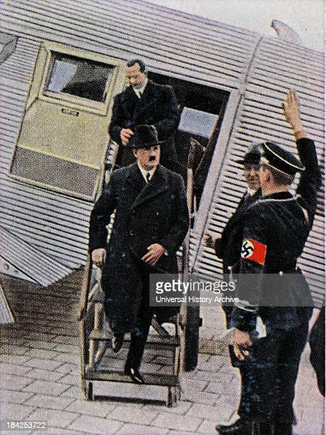 Hitler arrives in Leipzig Germany aboard a plane He is saluted on his arrival 1933