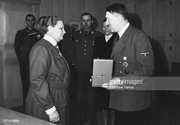 Hitler Awarding The Eagles Order Cross To Chief Of Lotttas Fanni Luukkonen In Germany On May 22Nd 1943