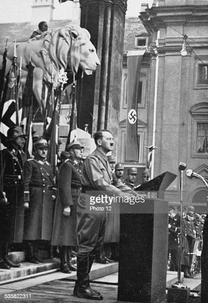 Hitler delivering a speech before the Feldherrnhalle in Munich to the attention of the new members of the Hitler Youth November 9 Weimar Republic