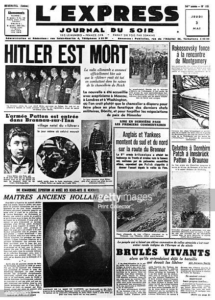Hitler is Dead front page of L'Express newspaper 3 May 1945 Reports of events in the last week of World War II in Europe