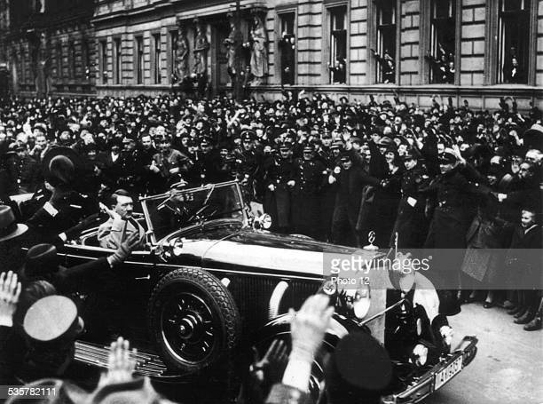 Hitler leaving the Reichstag through the cheering crowd January 30 Germany Paris Bibliothque nationale