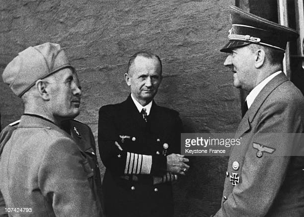 Hitler Mussolini And Admiral Doenitz After The Assassination Attempt In Germany On July 22Nd 1944