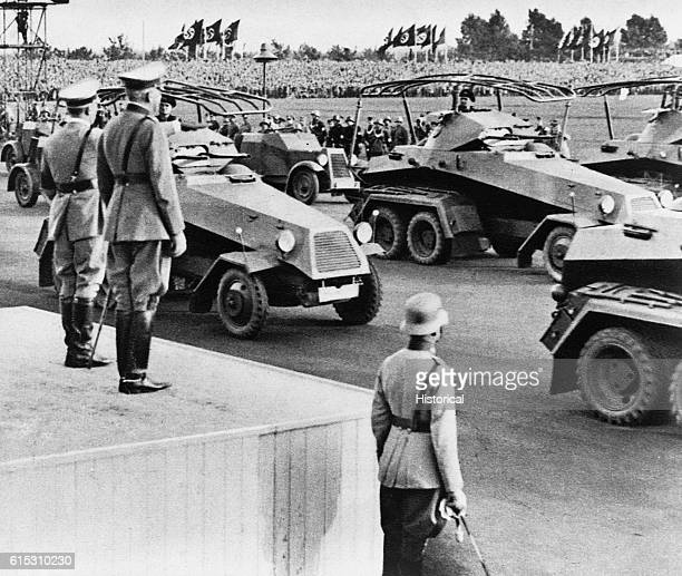 Hitler reviews heavy armored cars at a Nuremburg rally ca 19391945