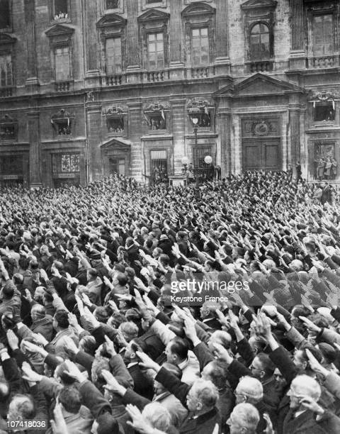 Hitler Salute At Vichy In France During World War Ii