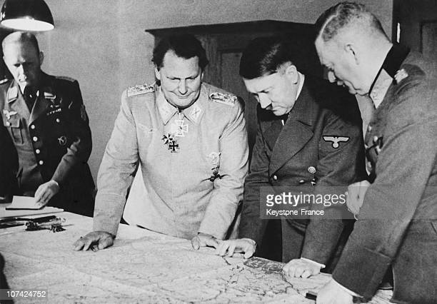 Hitler Studying A Map With Goring Keitel And Officers In Germany On April 6Th 1942