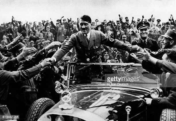 Hitler Surrounded by Cheering Crowd