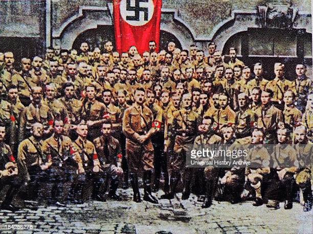 Hitler with Nazi members in uniform Munich Germany 1930