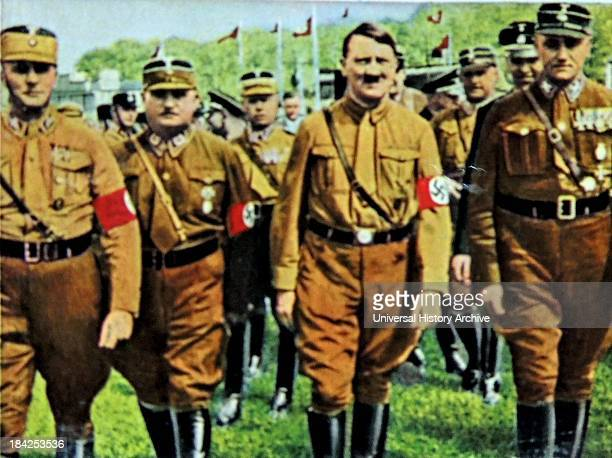 Hitler with SA Nazi leaders at a rally in 1930-31