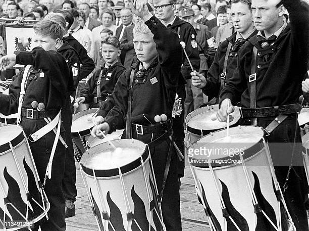 Hitler Youth at a Nuremberg rally mass band of boy drummers c1936