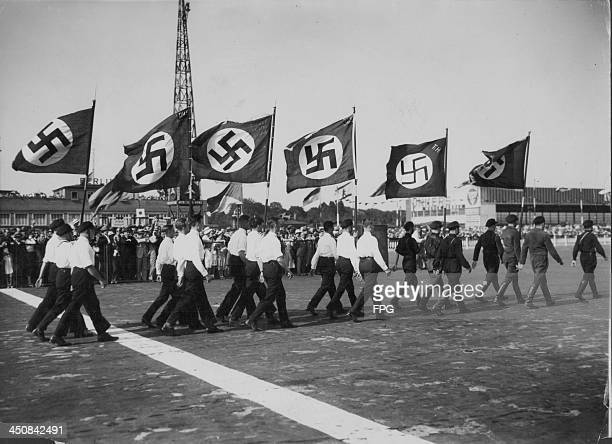 Hitler Youth recruits in a Nazi Party parade prior to World War Two Berlin Germany June 12th 1932