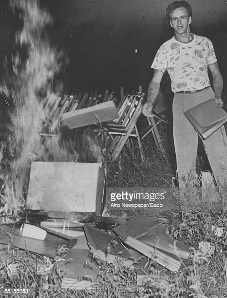 Hitlerism Comes Back to Life in New York State headline with an image of a man throwing books onto the flames of a fire and burning books at a...