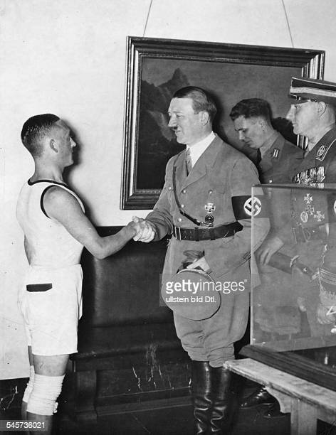 Hitlers 46 Birthday a runner from Koenigsberg who runs in 10 days to Berlin congratulating Adolf Hitler with wishes of the 'SAGruppe Ostland' right...