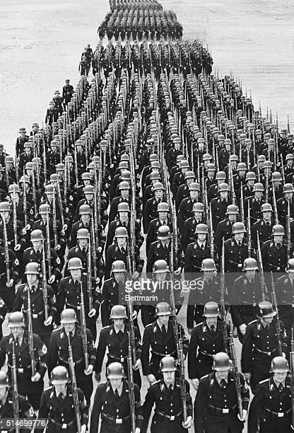 Hitler's Elite Guard marches through Prague to enforce martial law after three Czech rebels were executed