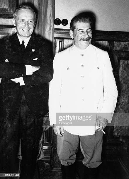 Hitler's Foreign Minister von Ribbentrop and Joseph Stalin after signing the nonaggression pact of August in Moscow
