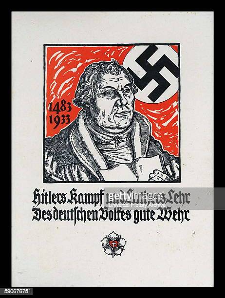 'Hitler's Kampf und Luther's Lehr Des deutschen Volkes gute Wehr Nazi propaganda poster 1933