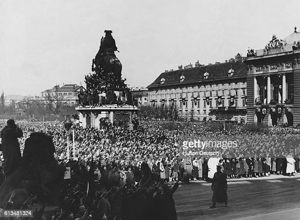 Hitler's victory parade through Vienna after Germany's take over of Austria 1938