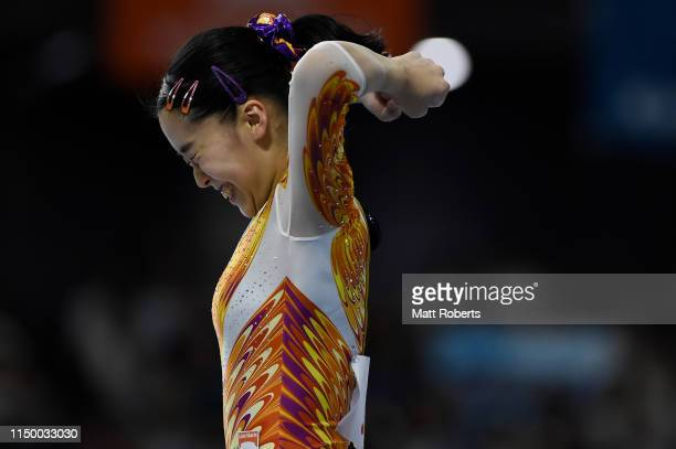 Hitomi Hatakeda of Japan celebrates after the Beam during day one of the Artistic Gymnastics NHK Trophy at Musashino Forest Sport Plaza on May 18...