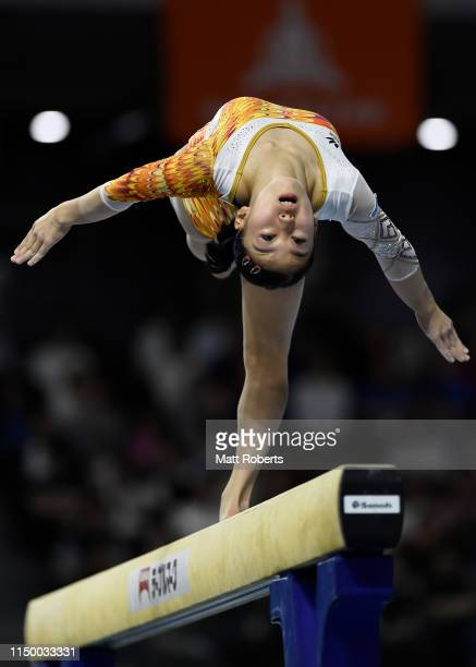 Hitomi Hatakeda of Japan competes on the Beam during day one of the Artistic Gymnastics NHK Trophy at Musashino Forest Sport Plaza on May 18 2019 in...