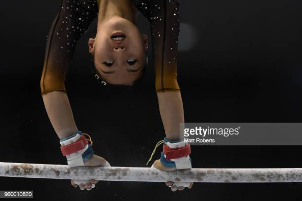 Hitomi Hatakeda of Japan competes on the Uneven Bars during day one of the 57th Artistic Gymnastics NHK Trophy at the Tokyo Metropolitan Gymnasium on...