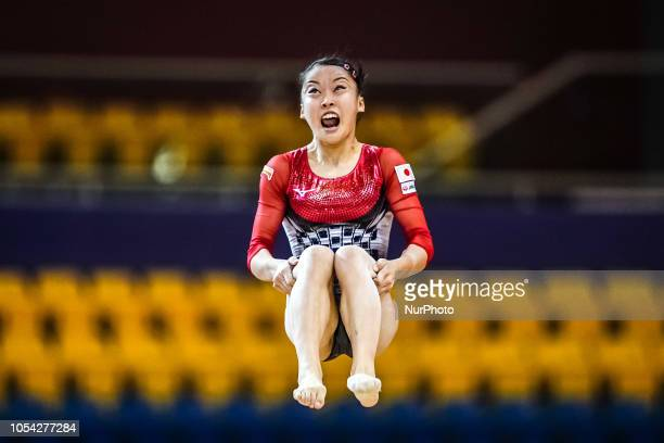 Hitomi Hatakeda of Japan during Floor qualification at the Aspire Dome in Doha Qatar Artistic FIG Gymnastics World Championshipson 27 of October 2018