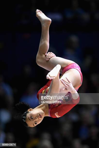 Hitomi Hatekeda of Japan competes on the beam during day two of the 2018 Gymnastics World Cup at Arena Birmingham on March 22 2018 in Birmingham...
