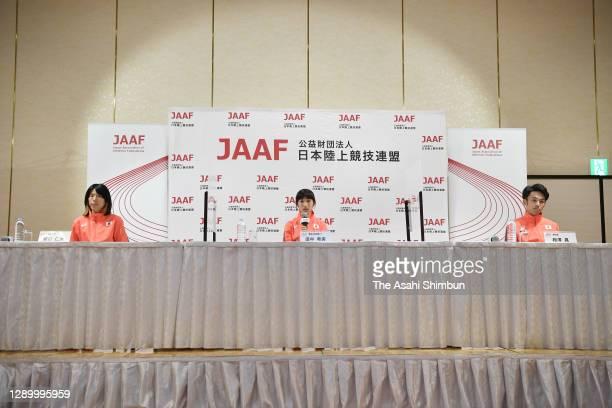 Hitomi Niiya, Nozomi Tanaka and Akira Aizawa attend a press conference on December 5, 2020 in Osaka, Japan.
