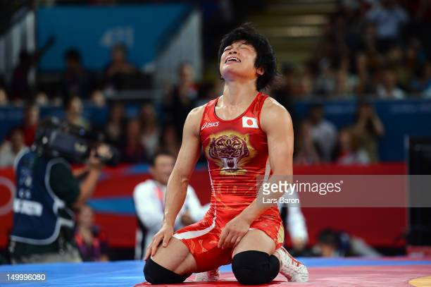 Hitomi Obara of Japan celebrates winning gold in the Women's Freestyle 48 kg Wrestling on Day 12 of the London 2012 Olympic Games at ExCeL on August...