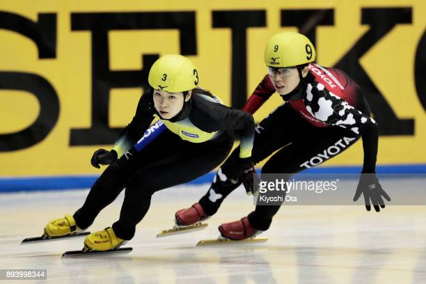 Hitomi Saito and Ayuko Ito compete in the Ladies' 1000m Semifinal during day two of the 40th All Japan Short Track Speed Skating Championships at...