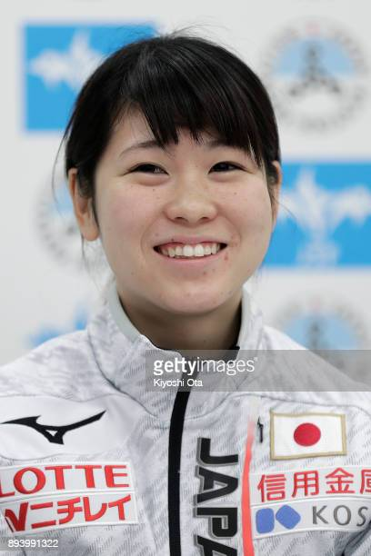 Hitomi Saito attends a press conference following the announcement of the Japan Short Track Speed Skating Team for the PyeongChang 2018 Winter...