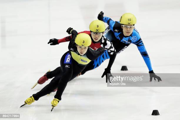 Hitomi Saito Ayuko Ito and Ami Hirai compete in the Ladies' 1000m Quarterfinal during day two of the 40th All Japan Short Track Speed Skating...