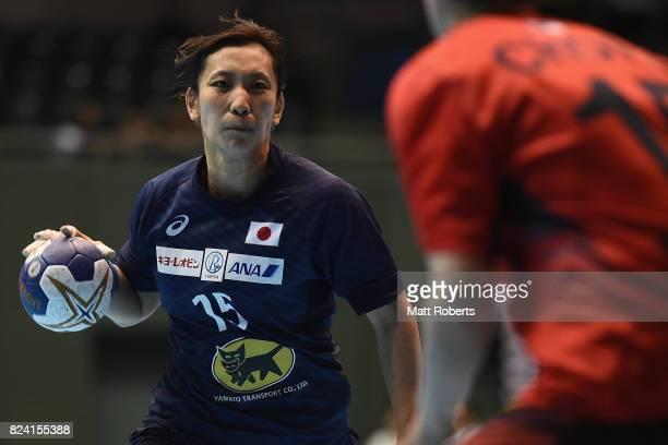 Hitomi Tada of Japan looks to pass the ball during the women's international match between Japan and South Korea at Komazawa Gymnasium on July 29,...