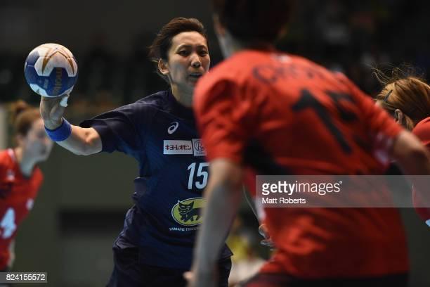 Hitomi Tada of Japan passes the ball during the women's international match between Japan and South Korea at Komazawa Gymnasium on July 29, 2017 in...