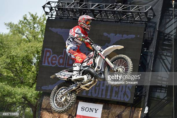 Hitoshi Takahashi of Japan with Yamaha YZ250 competes during qualifying for the Red Bull XFighters World Tour on May 24 2014 in Osaka Japan