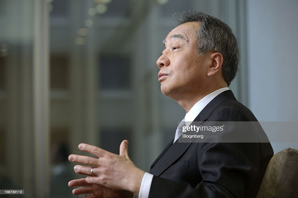Hitoshi Tsunekage, chairman of Sumitomo Mitsui Trust Holdings Inc., speaks during an interview in Tokyo, Japan, on Tuesday, Dec. 25, 2012. Nikko Asset Management Co., the unit of Sumitomo Mitsui Trust Holdings Inc. that shelved an initial public offering in 2011, must reap 'sustainable' profit gains before listing its stock, Tsunekage said. Photographer: Akio Kon/Bloomberg via Getty Images