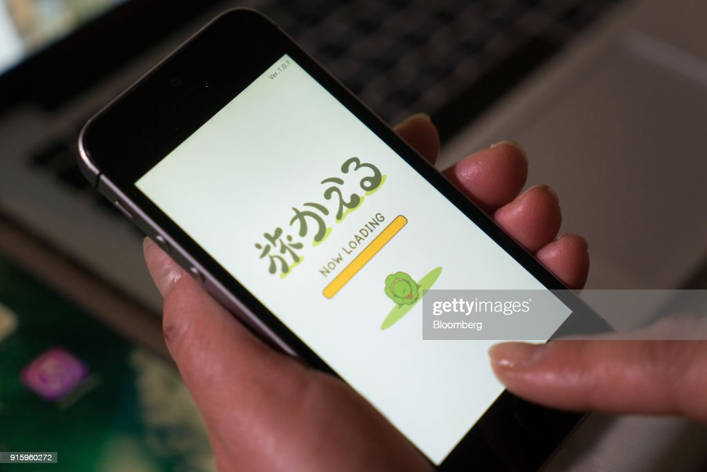 A Hit-Point Co. game app Tabi Kaeru, or Travel Frog, is arranged for a photograph on a smartphone in Tokyo, Japan, on Monday, Jan. 30, 2018. The game became the No. 1 downloaded smartphone app in China for almost two weeks after its debut, and is still hovering at the top of the charts in China, Hong Kong, Taiwan, Singapore, Malaysia and Japan. Photographer: Kentaro Takahashi/Bloomberg via Getty Images
