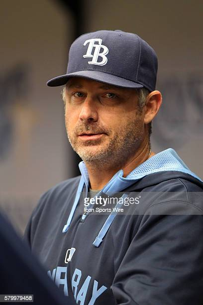 Hitting Coach Derek Shelton of the Rays during the American League regular season game between the Chicago White Sox and the Tampa Bay Rays at...