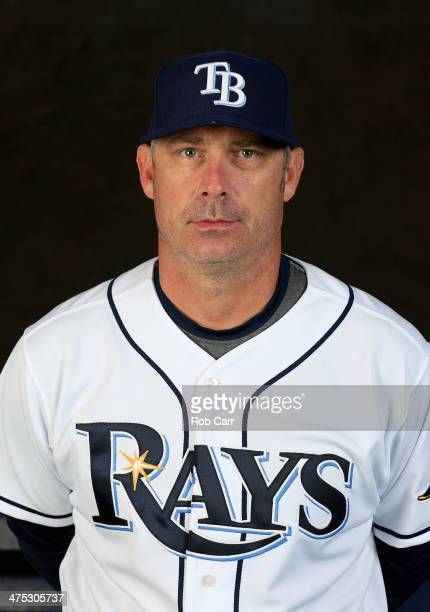 Hitting coach Derek Shelton of the Tampa Bay Rays poses for a portrait at Charlotte Sports Park during photo day on February 26 2014 in Port...