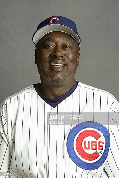 Hitting coach Gary Matthews of the Chicago Cubs poses for a picture during Cubs Photo Day at Fitch Park on February 28 2004 in Mesa Arizona