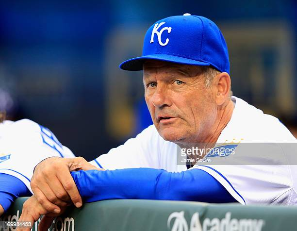 Hitting coach George Brett of the Kansas City Royals watches from the dugout during the game against the Minnesota Twins at Kauffman Stadium on June...