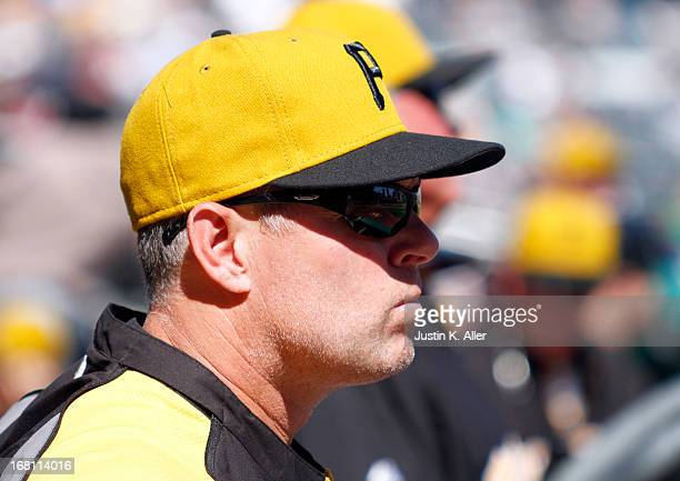 Hitting coach Jay Bell of the Pittsburgh Pirates looks on against the Washington Nationals during the game on May 5 2013 at PNC Park in Pittsburgh...