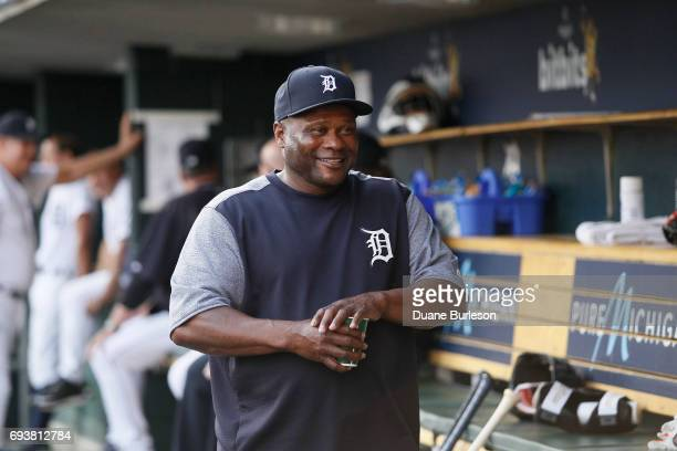 Hitting coach Lloyd McClendon of the Detroit Tigers before a game against the Chicago White Sox at Comerica Park on June 2 2017 in Detroit Michigan