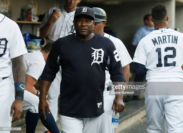 Hitting coach Lloyd McClendon of the Detroit Tigers during a game against the Boston Red Sox at Comerica Park on July 20 2018 in Detroit Michigan