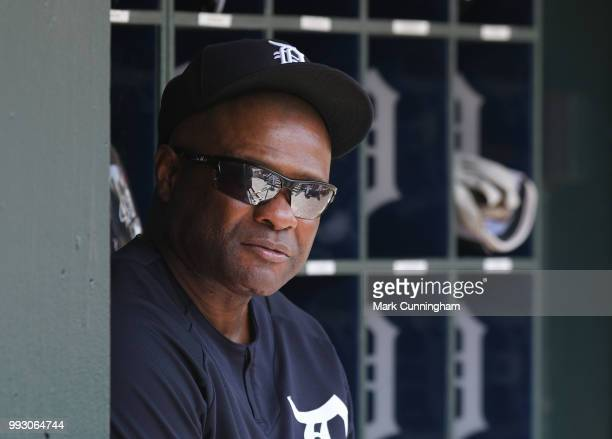 Hitting coach Lloyd McClendon of the Detroit Tigers looks on from the dugout during the game against the Cleveland Indians at Comerica Park on May 16...