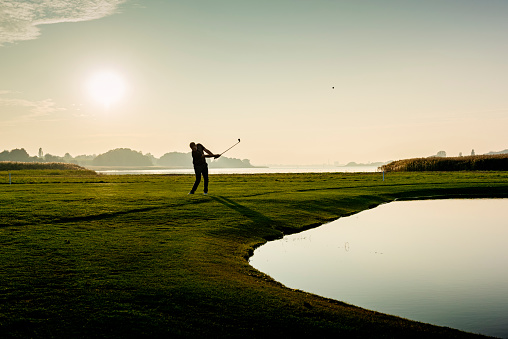 Hitting the perfect pitch shot. 1080367548