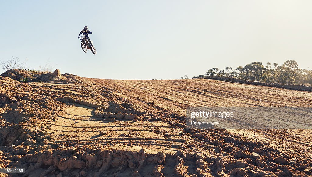 Hitting the ramp at high speed : Stock Photo