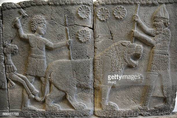 Hittite art Orthostat 8th century BC Relief Hunting a lion Found in old city of Sma'al /Zincirli Pergamon Museum Museum Island Berlin Germany