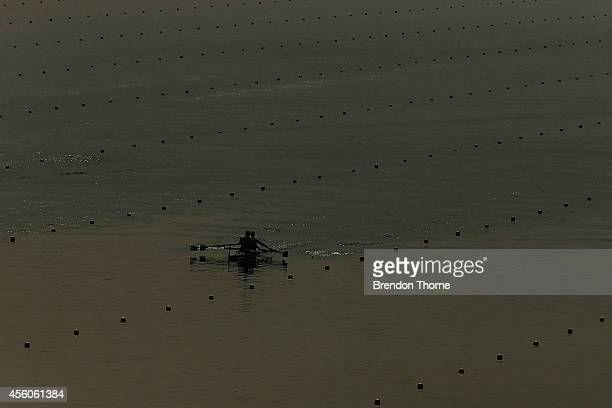 Hiu Fung Law and Wai Kin Wong of Hong Kong compete in the Men's Double Sculls during day six of the 2014 Asian Games at the Chungju Tangeum Lake...