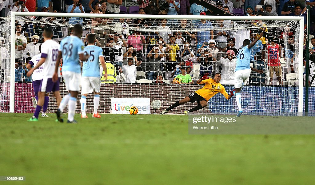 Hiwula of Manchester City scores from a penalty spot during the friendly match between Al Ain and Manchester City at Hazza bin Zayed Stadium on May 15, 2014 in Al Ain, United Arab Emirates.