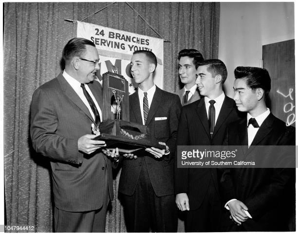 HiY Boy of the Year 20 January 1960 Andrew Achterkirchen Judge Ernest J Loebbcke Jospeh Baldi Tom Saltzman Alan Miyamoto Caption slip reads...