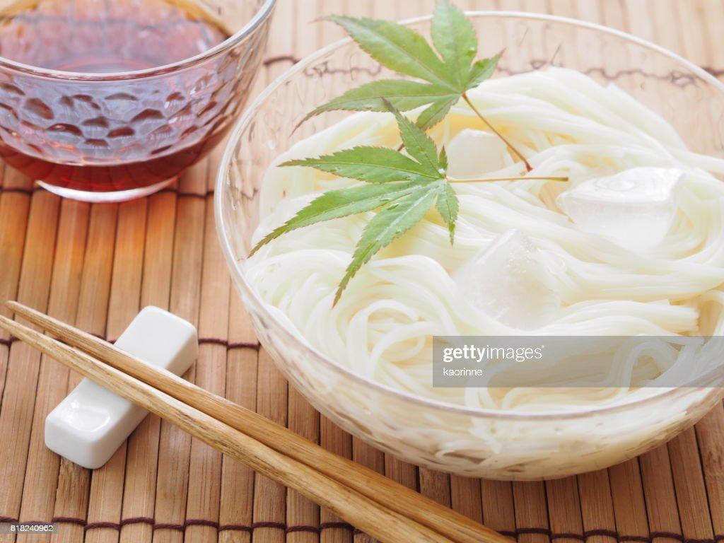 Hiyashi Somen (Japanese Chilled Somen Noodles) : Stock Photo